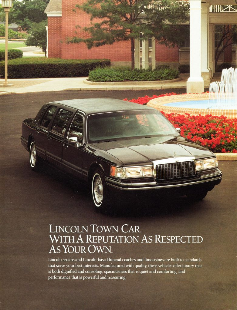 1994 Lincoln Town Car Limousine Ad Page 1 Lincoln Continental
