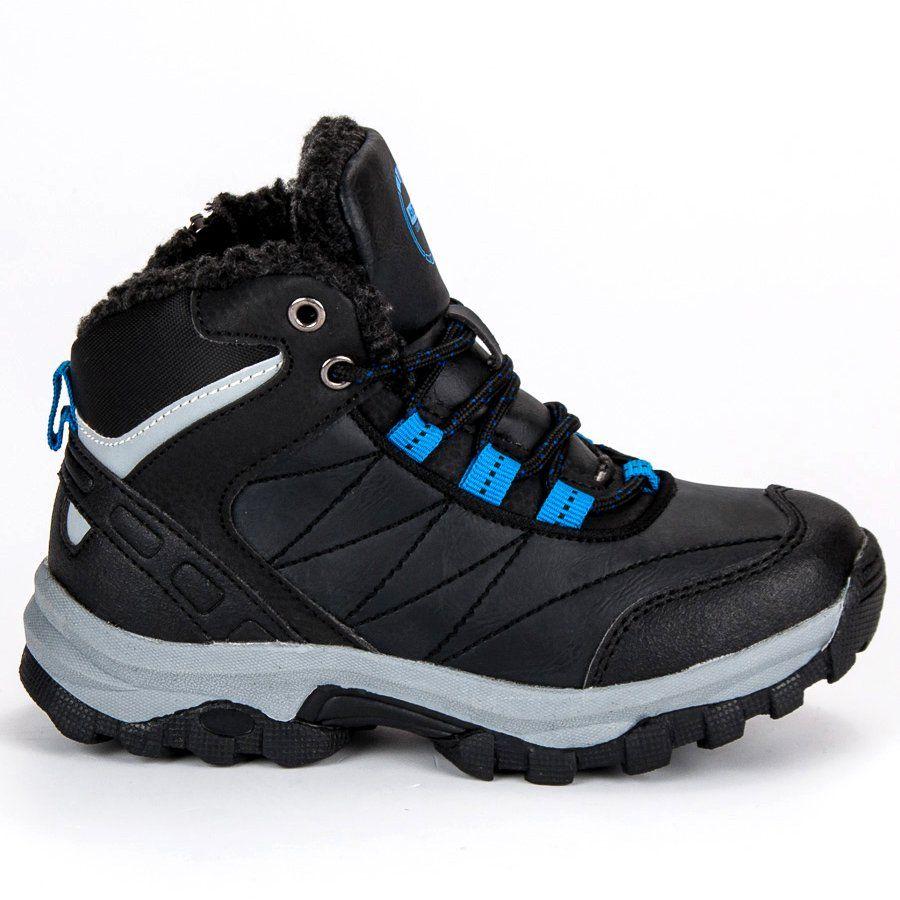 Polbuty I Trzewiki Dzieciece Dla Dzieci Axboxing Niebieskie Czarne Obuwie Zimowe Ax Boxing Hiking Boots Shoes Boots