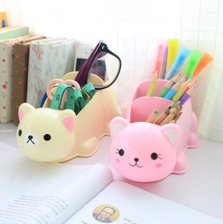 Hot cute cartoon desk organizer desk accessories organizer for Cute desk decorations
