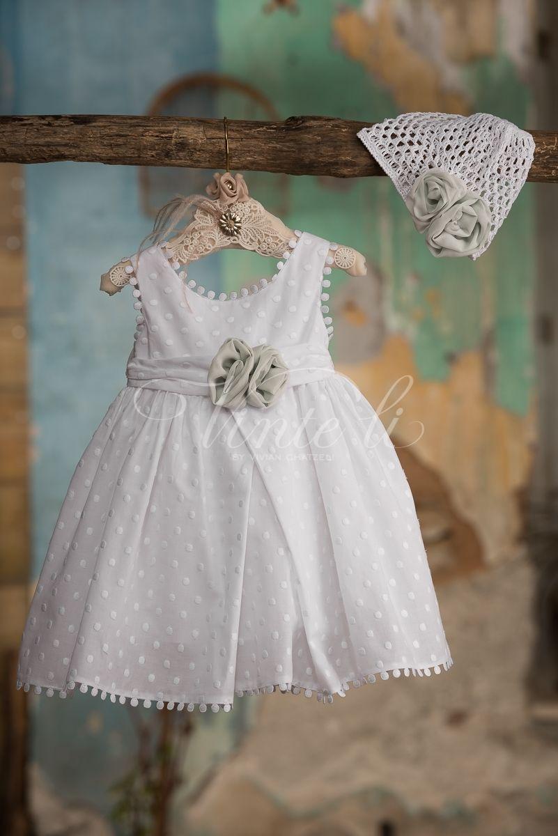 90ce1491bd31 Λευκό φόρεμα βάπτισης Venta Li 2725 με πλεκτό σκουφάκι
