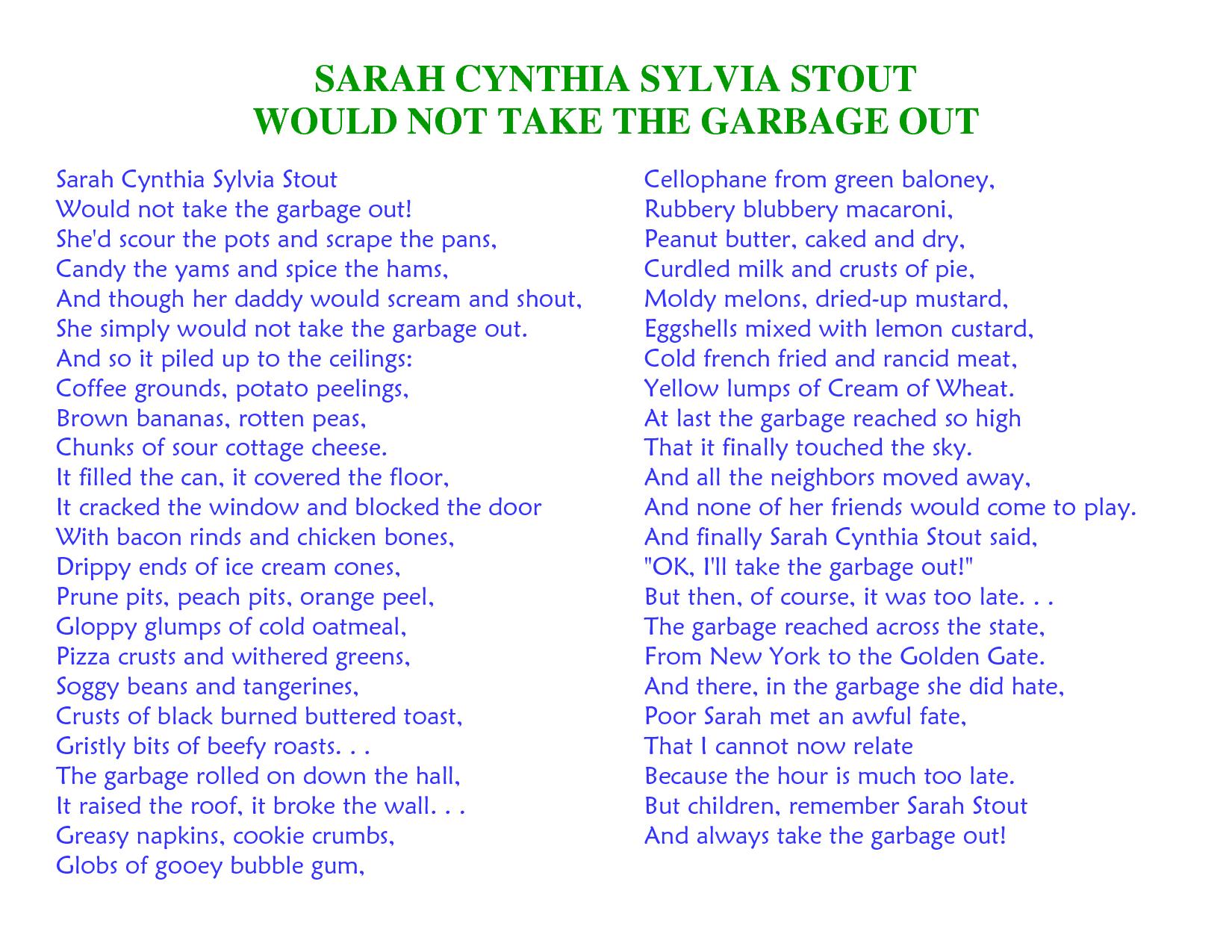 picture relating to Sarah Cynthia Sylvia Stout Printable titled Sarah Cynthia Sylvia Stout Track SARAH CYNTHIA SYLVIA STOUT