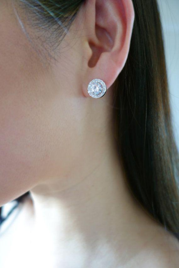 Stunning 3 Carat Round Halo Stud Earrings By Tigergemstones Diamond Simulant Wedding