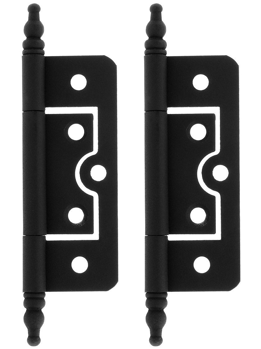 Pair Of 2 1 2 Non Mortise Cabinet Hinges With Black Powder Coated Finish House Of Antique Hardware Woodworking Woodworking Jigs Woodworking Tools