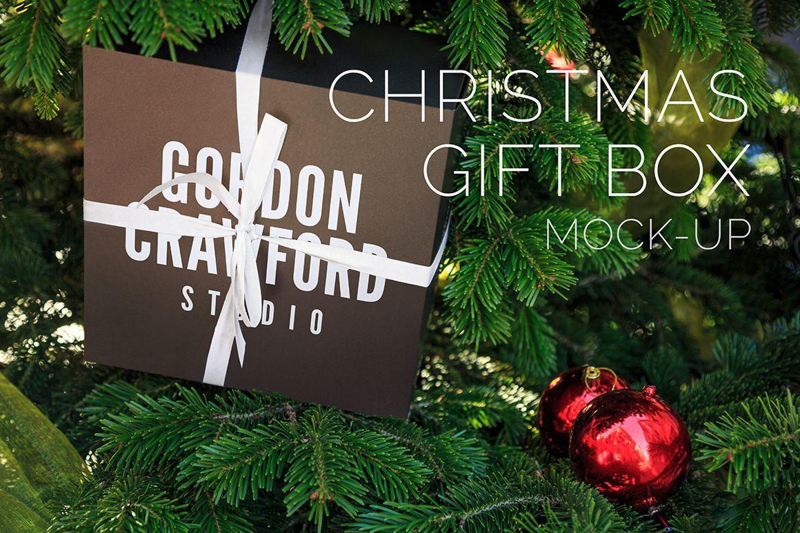 Christmas Gift Box Mock Up Christmas Gift Box Christmas Gifts Gift Wrap Tags