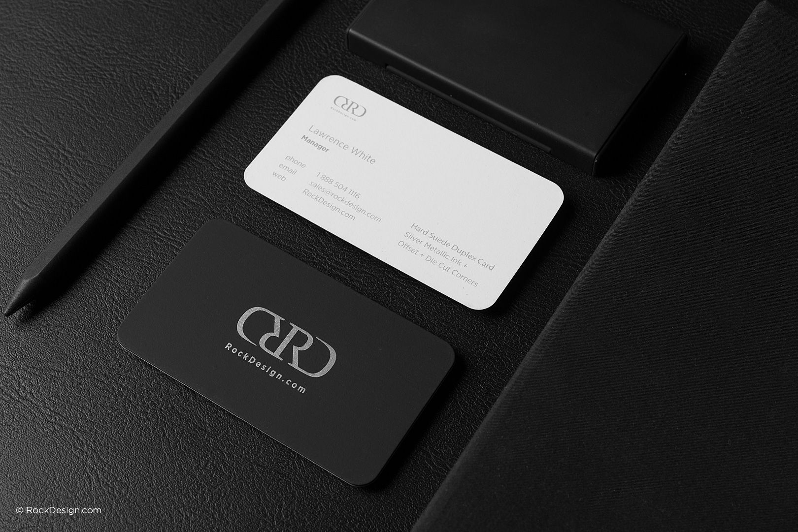 Modern black and white hard suede business card with rounded corners ...