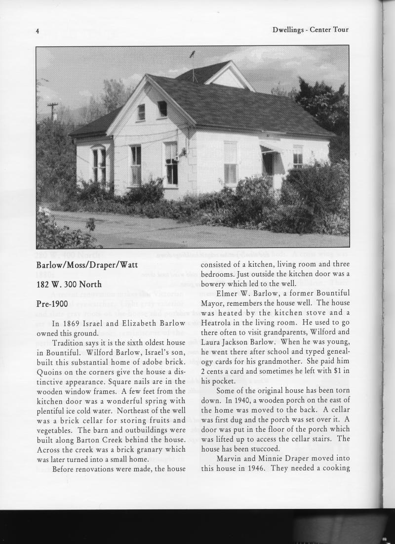 Barlow home in Bountiful Utah, pre-1900  | Family History
