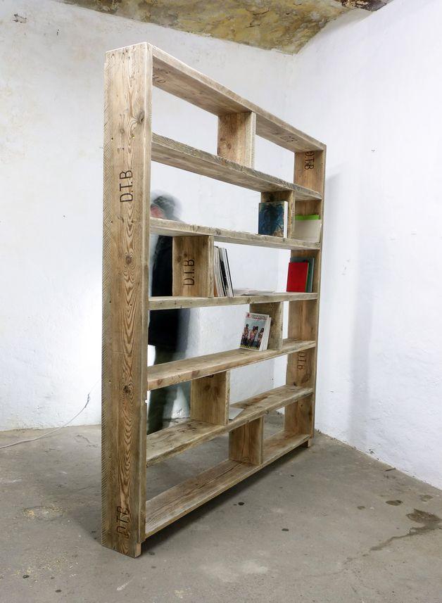 b cherregal aus altem bauholz regal 200 x 200 cm bauholz material und m bel. Black Bedroom Furniture Sets. Home Design Ideas