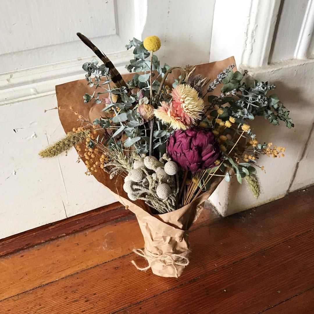 A Dried Flower Bouquet Made With Dried Artichoke Brunia Eucalyptus Acacia Mimosa Strawflower Billy Ball Dried Flower Bouquet Dried Bouquet Flowers Bouquet