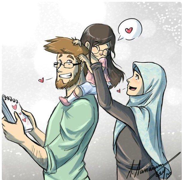 Muslim Manga Drawing Art Family