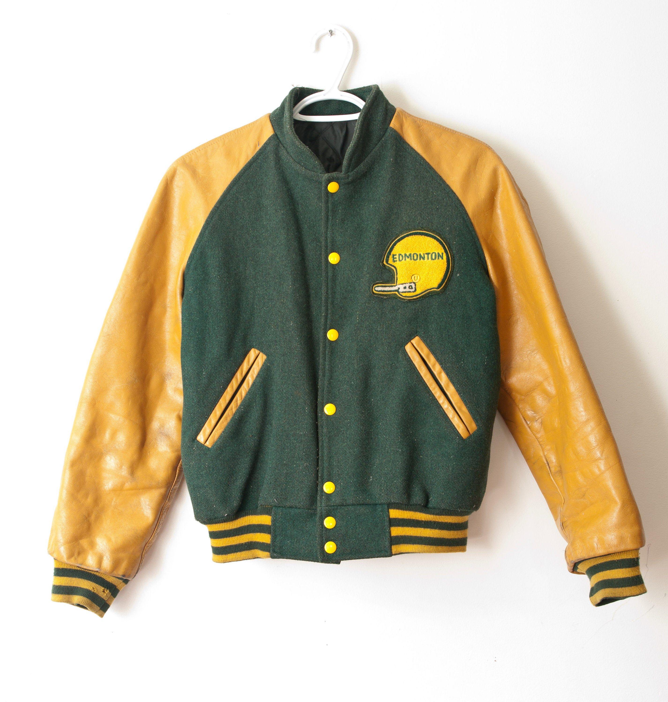1950 S Leather And Wool Football Bomber Vintage Edmonton Varsity Letterman Jacket In 2020 Bomber Jacket Vintage Varsity Letterman Jackets Letterman Jacket