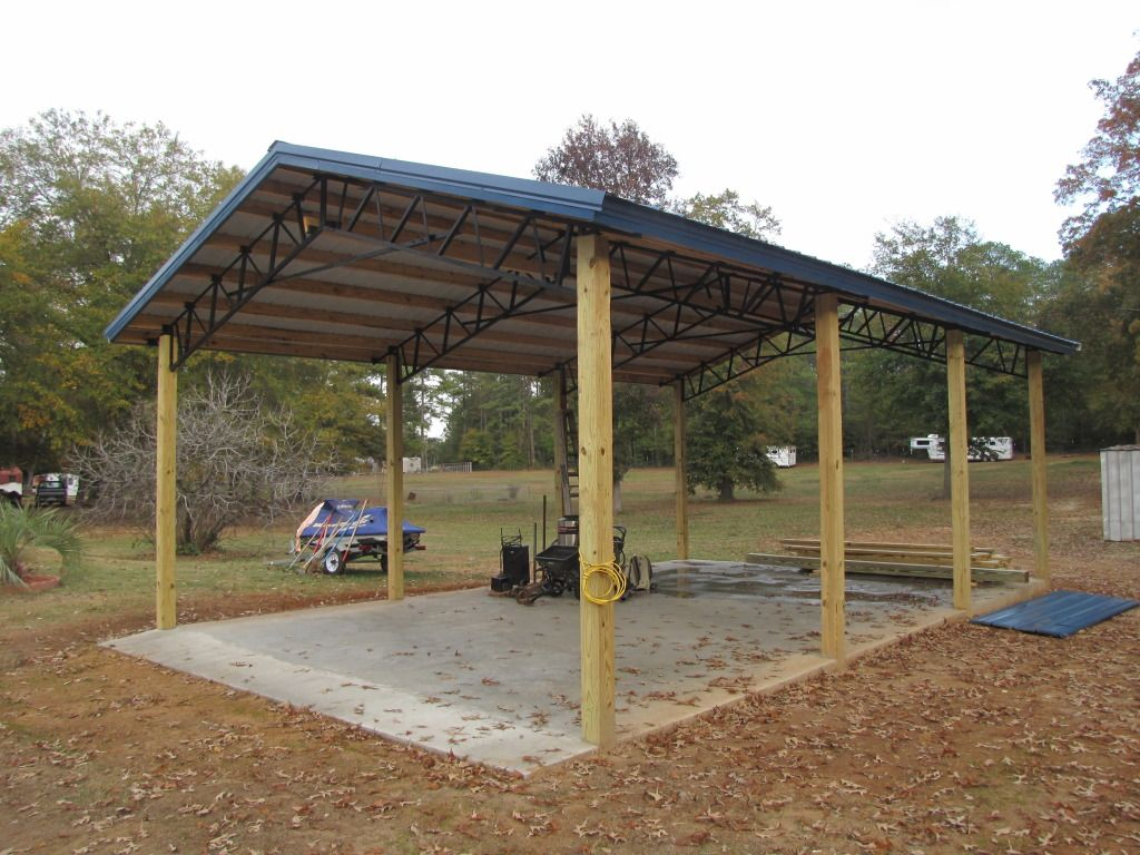 Metal pole barns 20 x 30 pole barn with steel truss for How to build a pole shed step by step