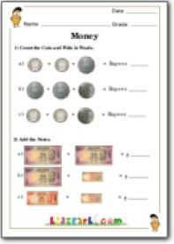 Money Addition for Class 1, Money Activity Worksheet for Class 1 ...