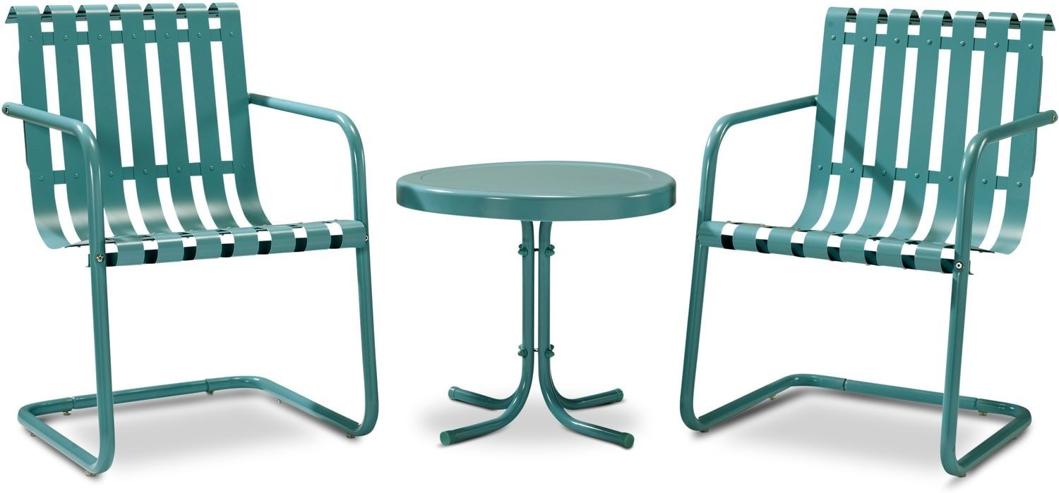 Janie Set Of 2 Outdoor Chairs And Side Table Caribbean Blue Outdoor Chairs Outdoor Seating Set
