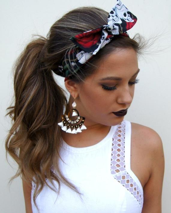 Rockabilly Headband Wired Dolly Bow Fabric Pin Up Headwrap Skulls
