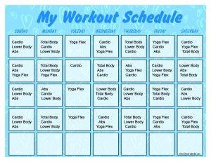 Baby Blue  Minute Trainer Calendar   Fitness Calendar