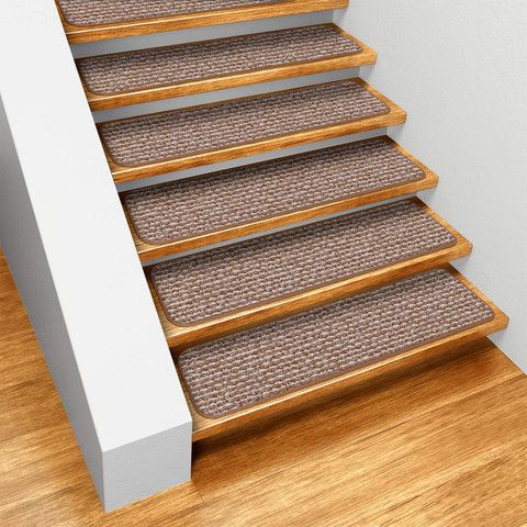 Stair Straight Stair Design With Brown Wooden Treads And Gray Anti Slip  Tread Mats Combine With Brown Parquet Floor Also White Wall Paint : Best No  Slip ...