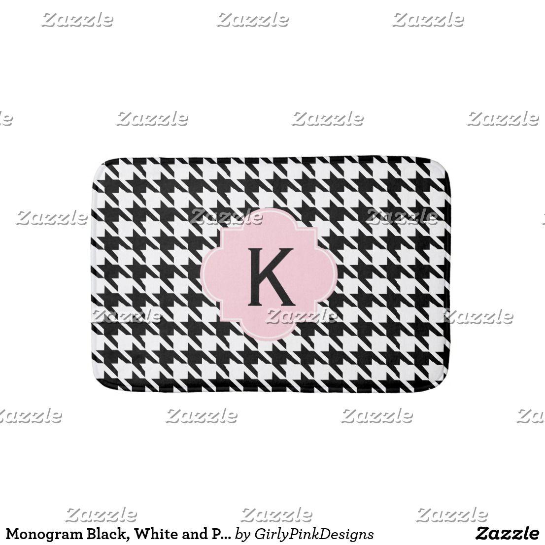Monogram Black, White and Pastel Pink Houndstooth Bathroom Mat ...
