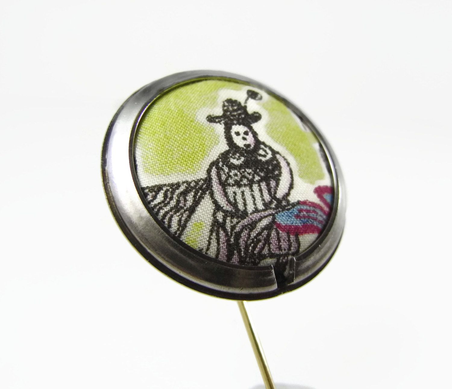 "The Farmer: Liberty of London Grayson Perry ""Flo"" fabric & unique upcycled watch tie lapel or hat pin by ohyouhandsomedevil on Etsy"