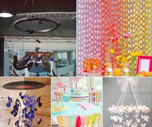 Llenar de colorido tus eventos con fabulosos móviles y guirnaldas con materiales simples: papel, cintas, cartulinas..
