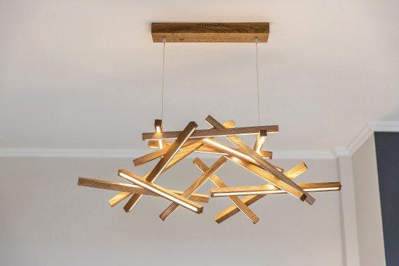 Wooden Chandelier Design Dining Room