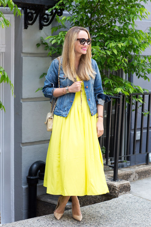 Denim Yellow The Stripe Yellow Maxi Dress Fashion Dress With Jean Jacket [ 1500 x 1000 Pixel ]