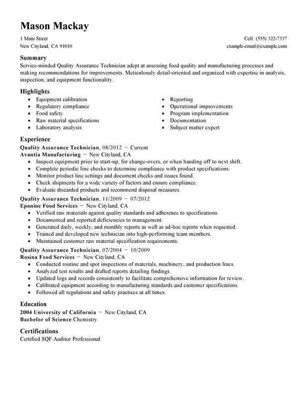 Wellness Quality Assurance Resume Example Myperfectresume Server Resume Resume Examples Sample Resume
