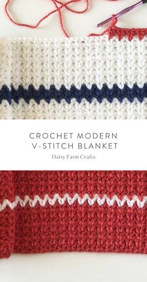 Free Pattern Crochet Modern V Stitch Blanket In Red White And