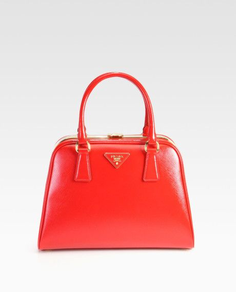 b48eedd2d368 Women's Red Saffiano Vernice Frame Pyramid Top Handle Bag | Love ...