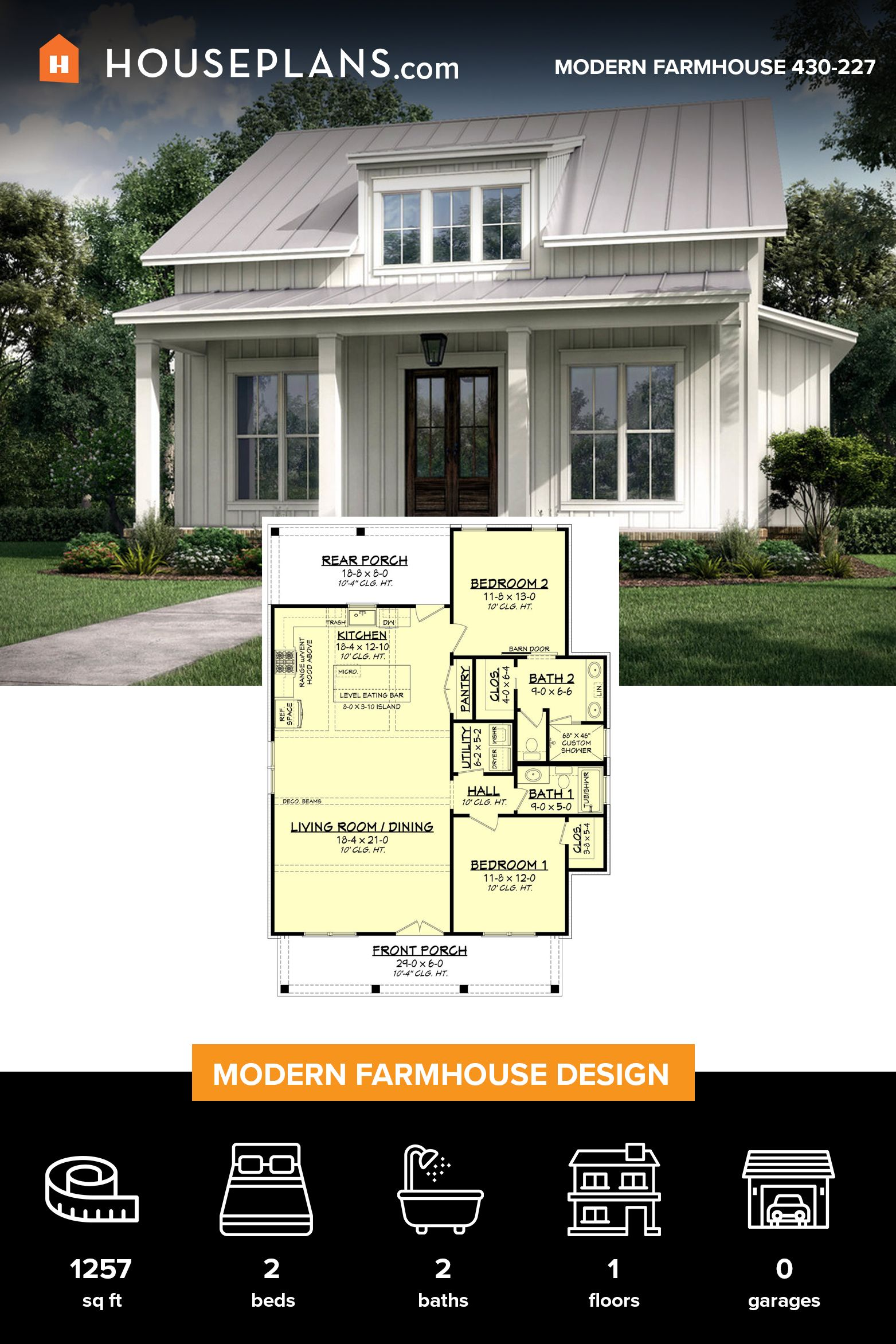 Farmhouse Style House Plan 2 Beds 2 Baths 1257 Sq Ft Plan 430 227 Farmhouse Style House Farmhouse Style House Plans Modern Farmhouse Plans