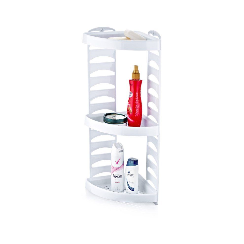 Triple Plastic Shower Caddy 3 Tier Corner Bath Shelf A Simple