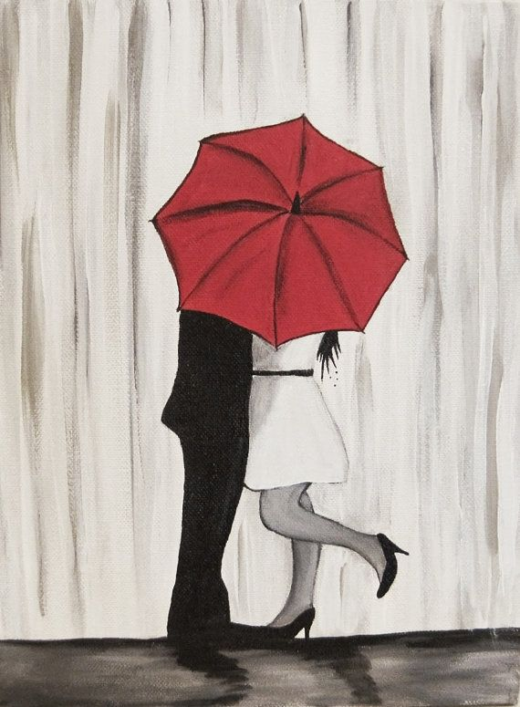 Original Couple In Rain Painting Kissing The Wall Art With Red Umbrella Hugging Silhouette