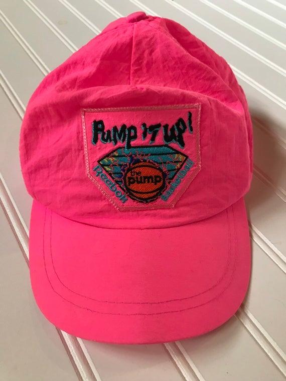 8cb59839 80's Reebok Pump It Up Florescent Pink Snap Back Cap Hat Vintage ...