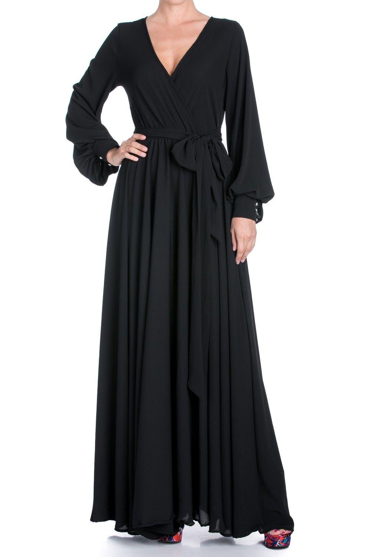 Lily Pad Faux Wrap Maxi Dress Black Black Maxi Dress Maxi Wrap Dress Long Sleeve Dress [ 1500 x 1000 Pixel ]