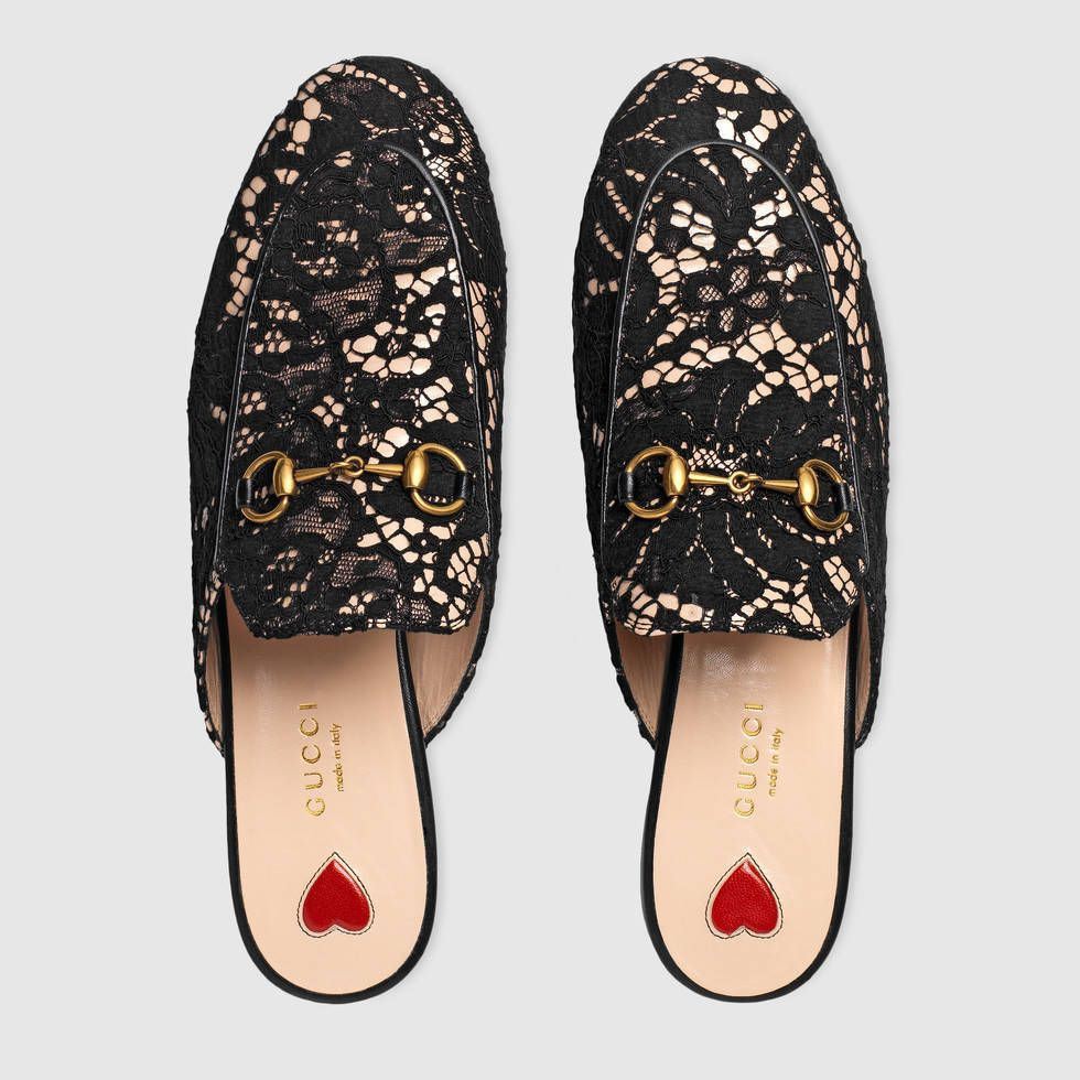 6da364508c9 Shop the Princetown lace slipper by Gucci. The Princetown slipper in floral  lace over beige leather with our symbolic gold-tone Horsebit.