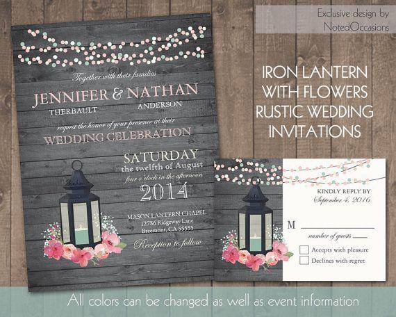 Lantern Wedding Invitation Set Rustic Suite Rsvp Blush Pink Flowers Country Digital Printable Diy Template