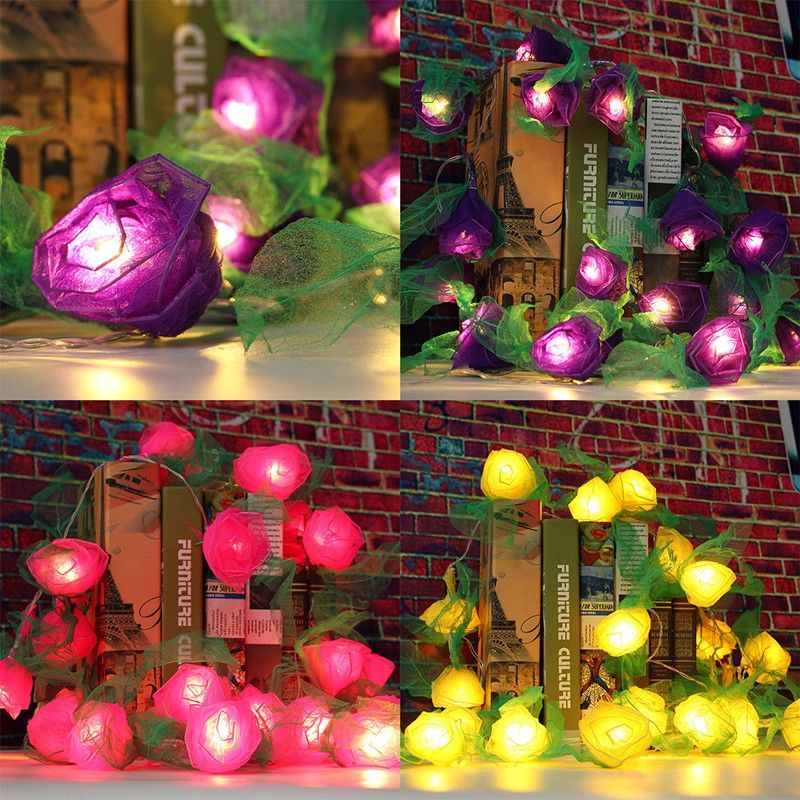 20LED Rose Flower Fairy String Light Wedding Garden Party Xmas - outdoor christmas decorations wholesale