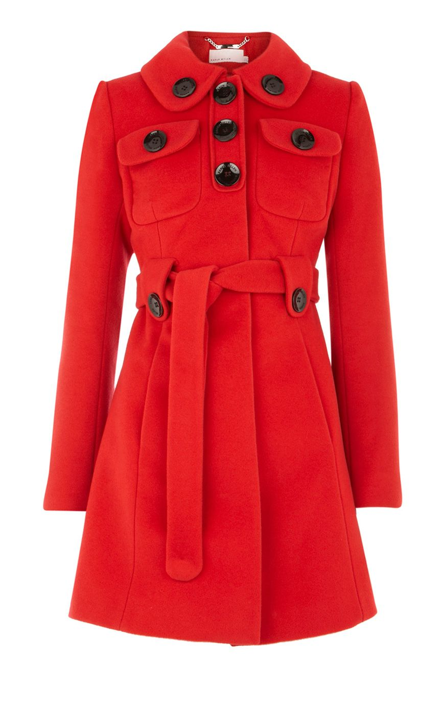Karen Millen Feminine wool coat red  8621a4ea92821