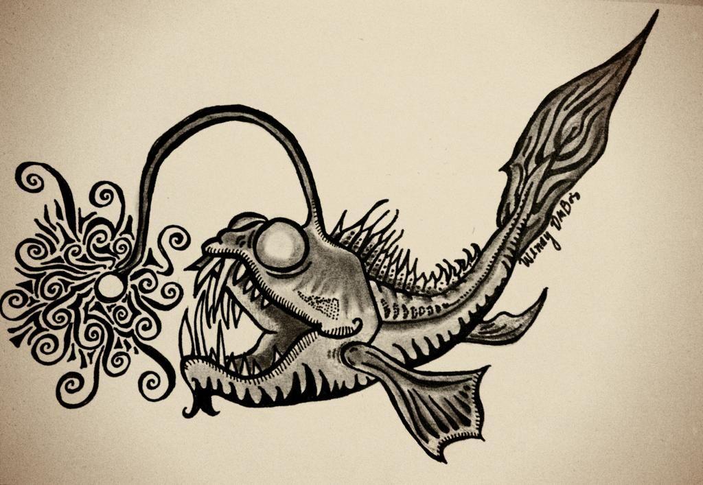 Angler Fish Zentangle Oc Angler Fish Drawing Fish Zentangle Angler Fish Tattoo