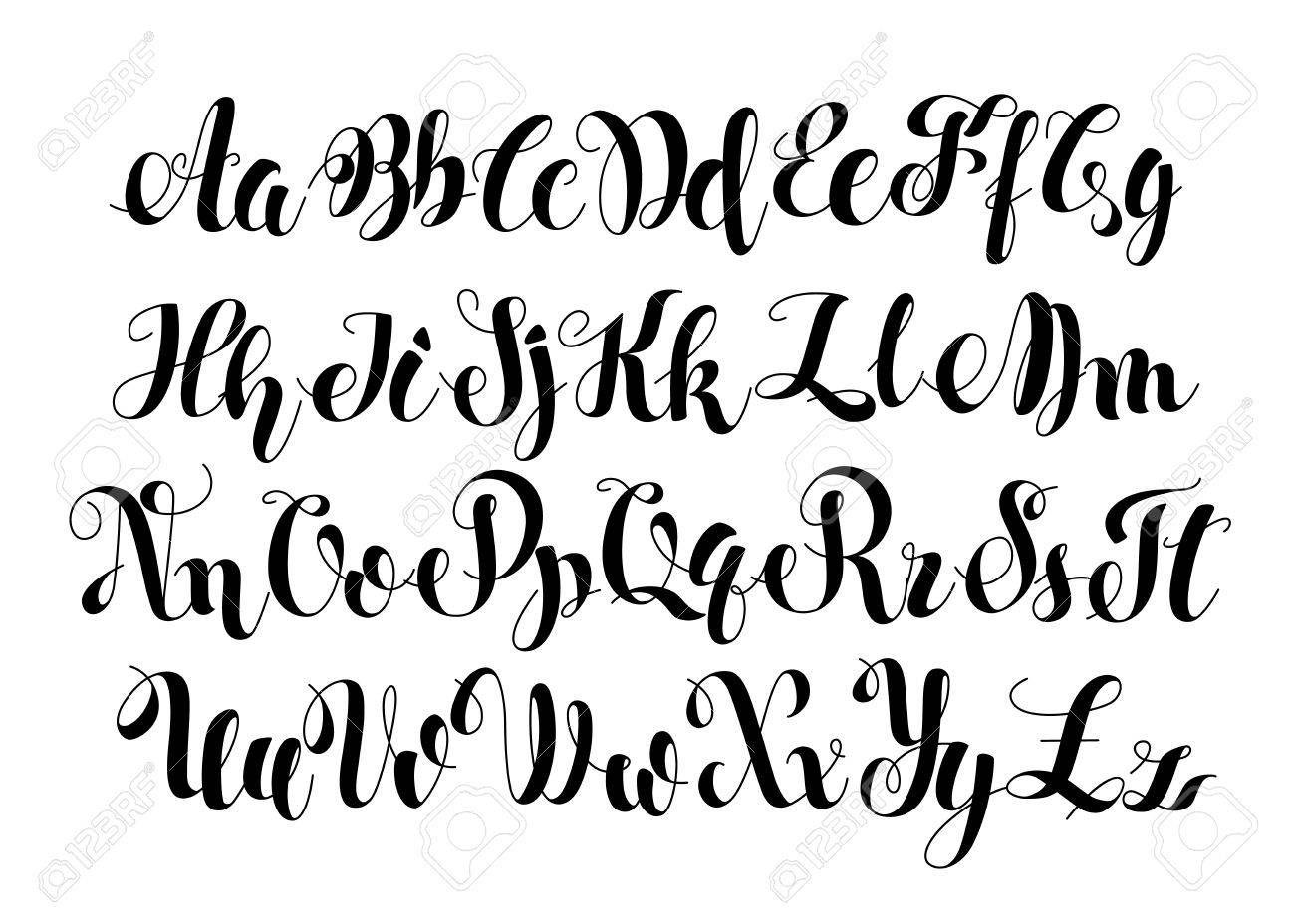 Handwritten Calligraphy Symbols Black And White Lettering Abc Letters Modern Brushed Painted English Al Lettering Alphabet Calligraphy Handwriting Lettering