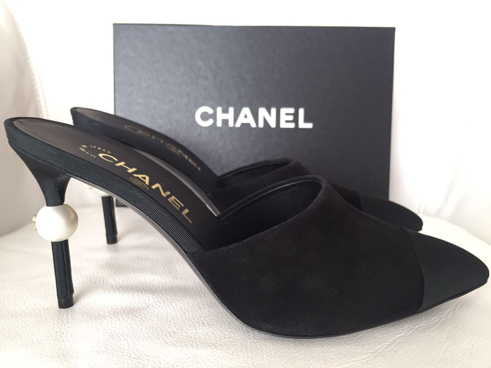 bec3fbf8bbf Chanel Runway Suede Heels Pearl Pumps 38 Nib Black Mules. Get the must-have  mules of this season! These Chanel Runway Suede Heels…