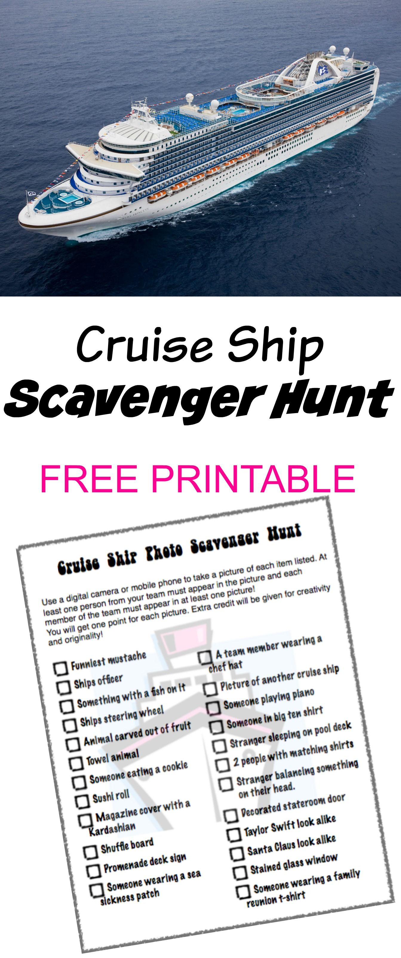Cruise Ship Photo Scavenger Hunt  Free Printable  Great Activity To Do  With The Kids
