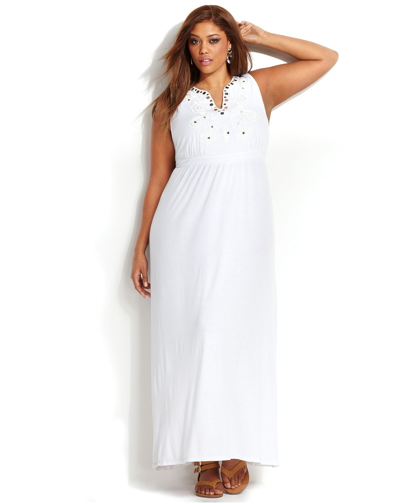 Inc international concepts plus size embroidered maxi dress plus