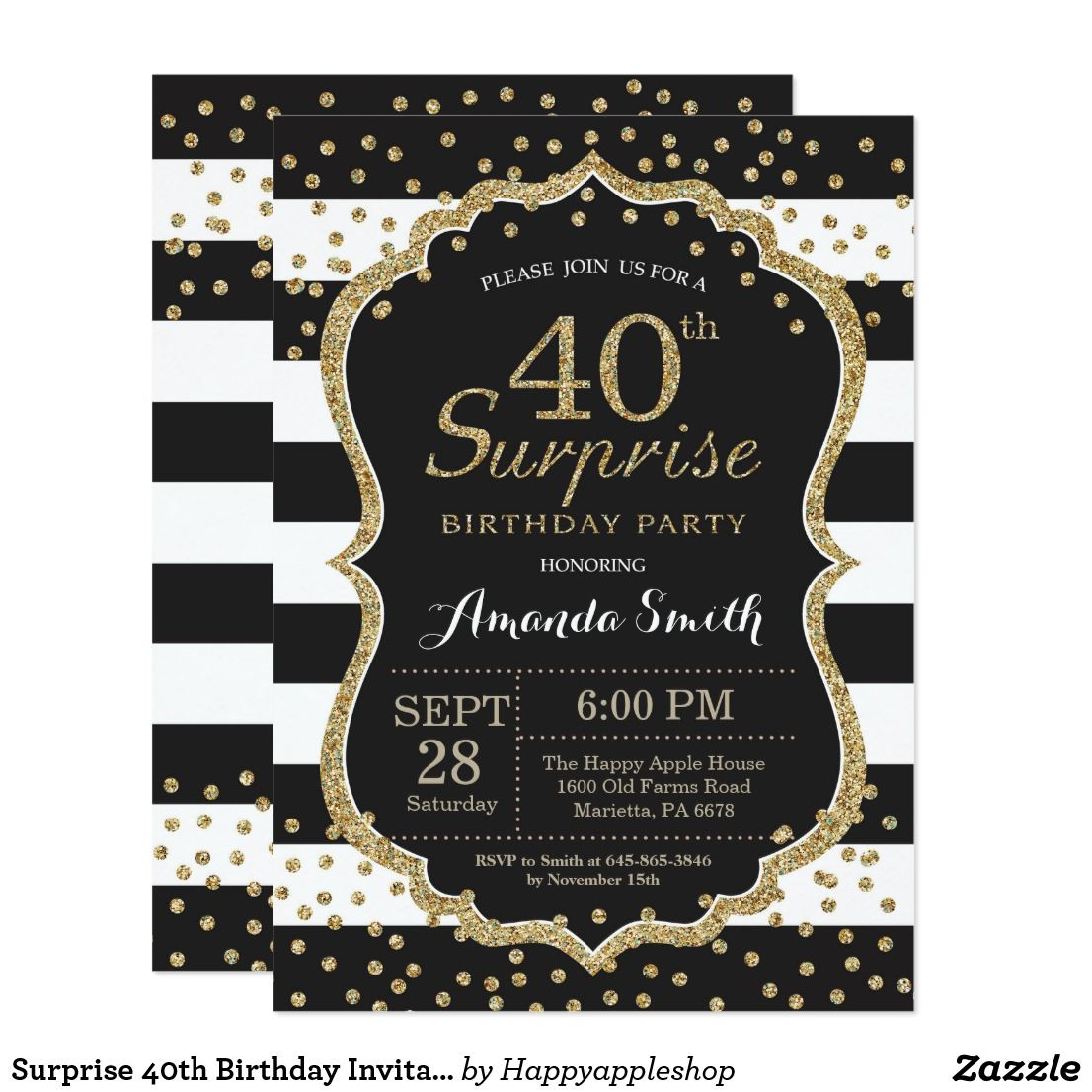 Surprise 40th Birthday Invitation Gold Glitter Invitation
