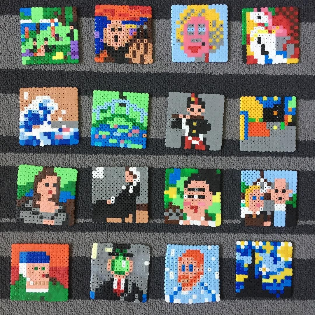 16 Famous Paintings Recreated In Perler Beads Perler Perlerbeads Hamabeads Fusebeads Paintings Hama Beads Design Perler Bead Patterns Hama Beads Patterns