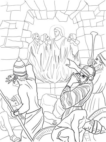Shadrach, Meshach and Abednego in the Fiery Furnace coloring page ...