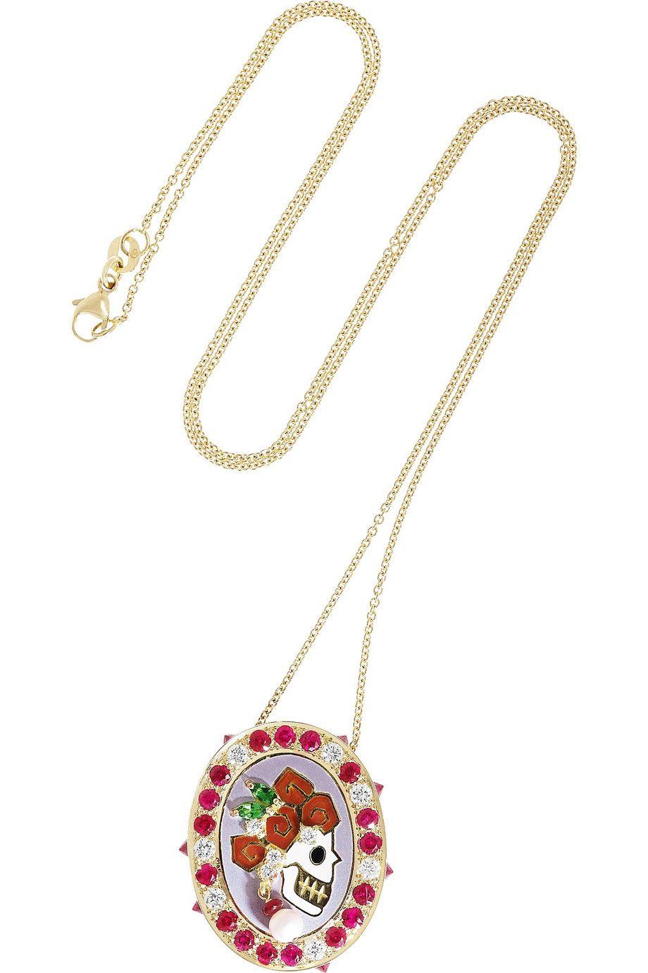 Holly Dyment |Lady Skull 18-karat gold multi stone necklace|NET-A-PORTER.COM