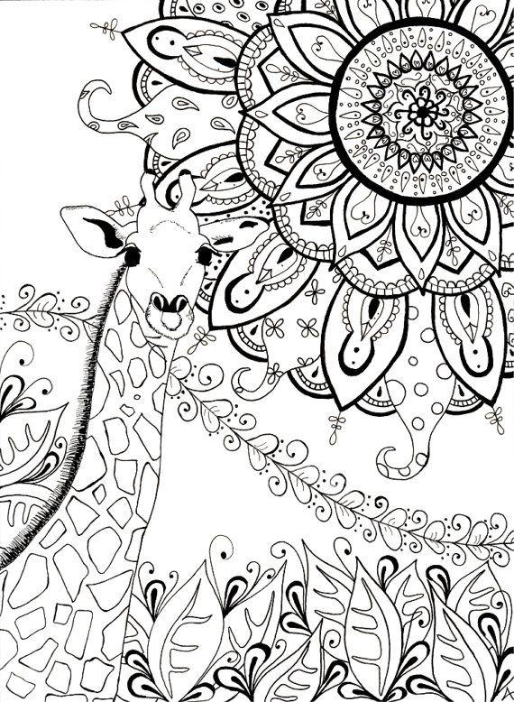 Girafe mandala zentangle - Mandalas a colorier pour adultes ...