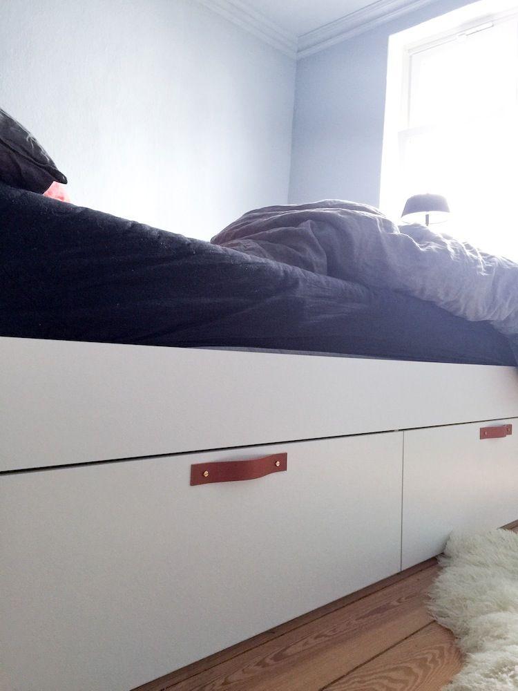 Ikea Hack: Bett BRIMNES Mit Ledergriffen. Ein Super Einfaches DIY Mit  Großer Wirkung!