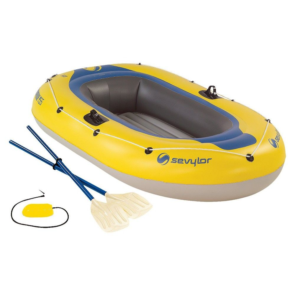 Sevylor Yellow/Blue Caravelle Raft with Oars and Pump 2