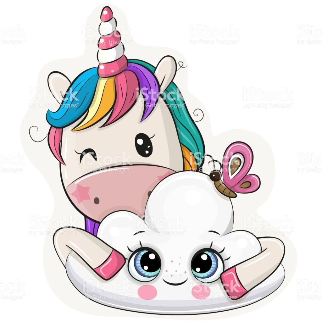 Cute Cartoon Unicorn With Cloud On A White Background Dibujos